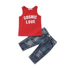 e73f00312 Toddler Kid Children Baby Girl Clothes Set Summer Sleeveless Letter Vest  Tops Denim Hole Jeans Girls Clothing Outfits 2PCS