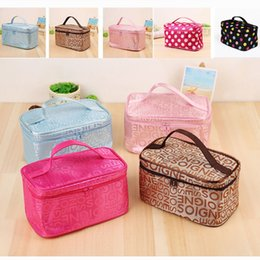 cosmetic mirror handle 2019 - Portable cheap medium letter makeup bag with mirror waterproof handle cosmetic bag for teen girls with brush holder 0249