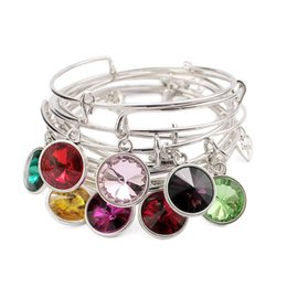 Charms Wire Wrapping Australia - 12pcs lot 12pcs Colors Birthstone Bracelets Bangles Alloy Wire Wrap Wristbands can Adjustable For wowen Girl Jewlry Accessory