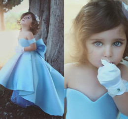 Discount big short dresses for kids 2020 Cheap Sky Blue Girls Pageant Dresses For Weddings Off Shoulder Satin High Low Length Big Bow Kids Birthday Children Girls Flower Gowns
