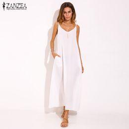 4db7a4e8581 Wholesale- Plus Size ZANZEA Women Deep V Neck Casual Loose Sleeveless  Sundress Summer Strappy Boho Party Beach Maxi Long Slip Dress Vestido