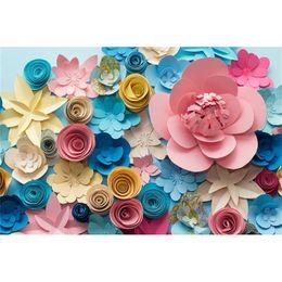 vinyl photographic backgrounds 2018 - Digital Printing Colorful 3D Paper Flowers Vinyl Backdrop for Photography Baby Newborn Photo Props Kids Children Photogr