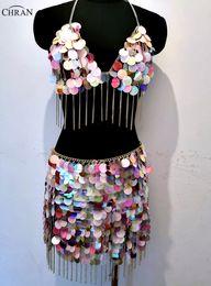 $enCountryForm.capitalKeyWord NZ - Chran Sequins Seascale Crop Top Disco Party Chain Necklace Rave Bra Bralete Festival Skirt Costume Dress Wear Set Jewelry CRS214