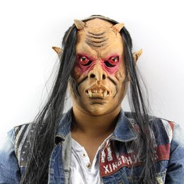 Back Hair Men Canada - New 2017 Halloween Horror Masks Scary Mask Halloween Toothy Zombie With Long Hair Devil Ghost Mask