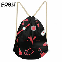 $enCountryForm.capitalKeyWord UK - FORUDESIGNS 3D Nurse Heartbeat Printed Small String Backpack Women Girls Casual Travel Drawstring Bag Female Beach Shoe Sack Bag