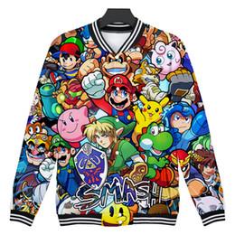 Hot clotHing for black men online shopping - Hot Sale D Mario Fashion Jacket Rrint O neck Long Sleeve Baseball Jacket for Women Men Clothes Super Mario Plus Size Clothes