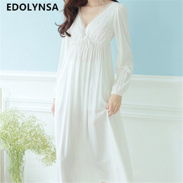 fee8206333 Autumn Vintage Nightgowns V-neck Ladies Dresses Princess White Sexy  Sleepwear Solid Lace Home Dress Comfortable Nightdress  H13