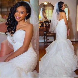 plus size ruffle wedding dresses Australia - Trendy Beads Crystal Ruffle Mermaid Wedding Dresses 2018 Modest Sweetheart Organza Tiers African Plus Size Trumpet Wedding Gown