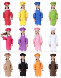 3pcs set Child Apron Kids Sleeve Hat Pocket Kindergarten Kitchen Baking Painting Cooking Drink food 12 colors on Sale