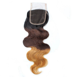 Chinese  Brazilian Body Wave Ombre T1B 4 27 Lace Closure Baby Hair Middle part Free part 3 Part Lace Top Closure manufacturers