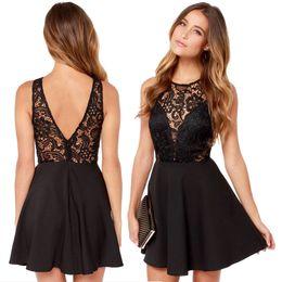 Wholesale Sexy Open Back A Line Mini Party Dresses Black Appliques Taffeta Short Party Dressr Jewel Homecoming Graduation Dresses