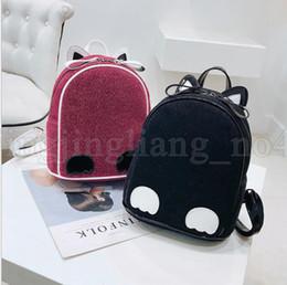 Discount street style cat - Street Women Backpack Fashion Girl Mini Cat Ears Backpack Schoolbag for Teenager Ear Mini Shoulder Bag KKA5538