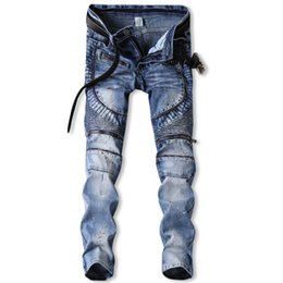 Vintage motorcycle models online shopping - Europe and the United States jeans stretch hole folds paint small straight pants explosion models motorcycle cowboy male