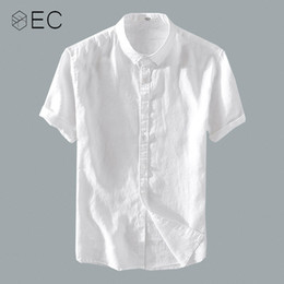 805e1196e1e6 EC2018 Summer Men Casual Shirts Men White Short Sleeve 100% Pure Linen  Shirts Fashion Slim Fit Brand Clothing T055