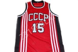 Arvydas Sabonis  15 CCCP Team Russia New Men Basketball Jersey Embroidery  Stitched Custom any Number and name Jerseys be1165fd8