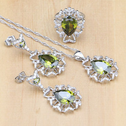 Light Green Jewelry Sets NZ - Light Olive Green Zircon White Crystal 925 Silver Jewelry Sets For Women Party Accessories Earrings Pendant Necklace Rings
