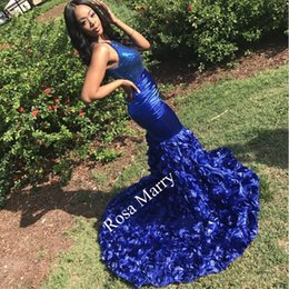 3d girls pictures Australia - Sexy Black Girls Mermaid Prom Dresses 2K19 Royal Blue 3D Floral Skirt Sequined Top Plus Size African Arabic 2020 Formal Evening Party Gowns