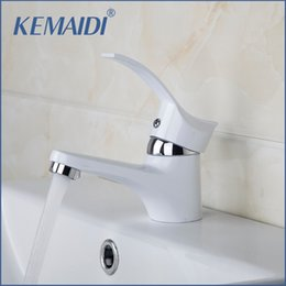 KEMAIDI Special White Painting Bathroom Sinks Tap Deck Mounted Single  Handle Mixer Basin Tap Solid Brass Bathroom Sink Faucet Discount White  Faucets ...