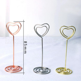Heart sHaped wedding place cards online shopping - Heart Shape Place Seat Card Holder Clips Photos Clips Wedding Party Table Favor Party Decoration OOA5242