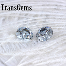 $enCountryForm.capitalKeyWord Australia - TransGems 8mm 2Carat grey Color Certified Man made Diamond Loose Moissanite Bead Test Positive As Real Diamond Gemstone 1pcs S923