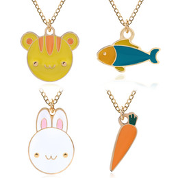 $enCountryForm.capitalKeyWord Canada - Cute Cartoon Carrot Rabbit Cat Fish Charms Necklaces For Women Enamel Colorful Animal Plant Pendants Choker Jewelry Factory Wholesale