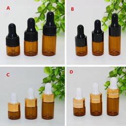 $enCountryForm.capitalKeyWord NZ - Wholesale Small Glass Vials 1ml 2ml 3ml Mini Amber Glass Dropper Bottle For Essential Oil Display Vials With Black Gold Cap 1000pcs lot