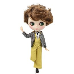 Bored Hair UK - blythe Fortune Days Nude Blyth doll Male doll Series No.BL9158 Brown curly hair Male Joint body Suitable for changeBJD Factory Blyth