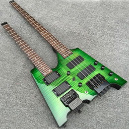 $enCountryForm.capitalKeyWord Australia - Rare Headless Double Neck Green Dark Flame Maple Top 6 Strings Electric Guitar & 4 Strings Electric Bass Black Hardware, Tremolo Tailpiece