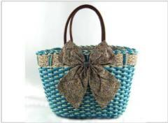 Wholesale 2018 new paper rope butterfly bag cute lady bag fashion casual beach bag handmade hand woven green rattan handbag