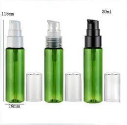 Discount pump bottle plastic green - 100 x 30ml Green Portable Plastic Lotion PET Pump Bottle 30cc Shampoo container