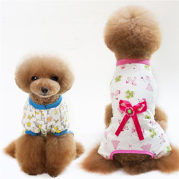 Chinese  Pet Clothes Dog Cartoon Bow flower Pajamas Small Dog Cat Jumpsuit Coat Shirt Clothes S M L XL XXL manufacturers