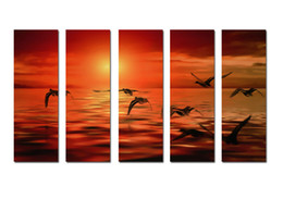 $enCountryForm.capitalKeyWord NZ - Large Hot Modern Contemporary Canvas Wall Art Print Painting Sea Sunset Landscape Seascape 5 Pieces picture Living Room Home Decor Aset291