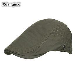 XdanqinX Men s Hat Stoma Breathable Cotton Berets For Men Simple Fashion  Retro Sun Visor Male Cap Adjustable Head Size Dad s Hat 816f7679208a