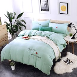 $enCountryForm.capitalKeyWord Australia - Spring Blue washed cotton princess wind embroidery bedding sets duvet cover set bed sheet pillowcase King Queen Twin size 4PCS