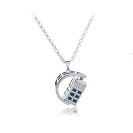Newest desigN alloy online shopping - 2018 Newest jewelry Design Movie Doctor Who Blue Drip Oil Necklace Creativity Rotating Pendant Necklace For Women and Men ZJ