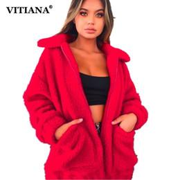 $enCountryForm.capitalKeyWord NZ - VITIANA Women Casual Faux Fur Coat Female 2018 Winter Loose Warm Soft Outwear Zipper Teddy Overcoat Jacket Manteau Femme Hiver