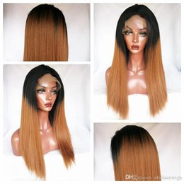 $enCountryForm.capitalKeyWord Australia - Hot Selling 1b 30# Ombre Wigs Brown Kinky Straight Wig Synthetic Lace Front Wigs Heat Resistant Fiber Wigs For Black Women 180% Density