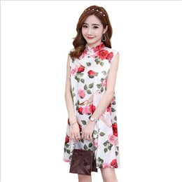 e200f9560c2 Chinese Dress Elegant Maternity Cheongsam Dress Flower print sleeveless  maternity For pregnant women Pregnancy Cloth