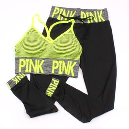 Wholesale Pink Letter Print Tracksuits Women Sport Suit Sets Two Piece Set pink Outfits Tracksuit Sportswear Tracksuit Pattern Bra Ninth Pant color
