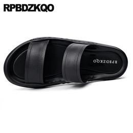 586e1e95bdea4 Casual Shoes Leather Mens Sandals 2018 Summer Outdoor Beach Black Men  Fashion Flat Designer Breathable Slides Slip On Slippers