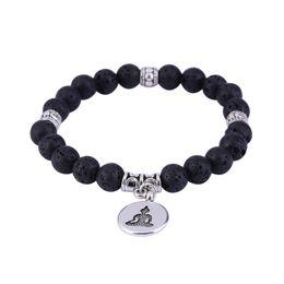 Discount wholesale tree life bracelets - Black Natural Stone Bead Bracelet Lava Stones White Lotus OM Buddha Life Tree Yoga Mala Beads Bracelets For Men Women Je