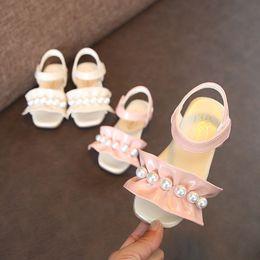 $enCountryForm.capitalKeyWord NZ - Cute Summer Baby Sandals Kids Children Princess Shoes Soft Anti-slip Bottom Pink Beige Flats for Girls