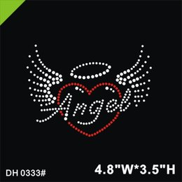 rhinestone hotfix heart NZ - Free shipping Simple Custom Angel Heart Rhinestone Hotfix Motif DIY DH0333#