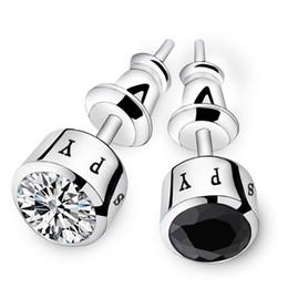 Venta al por mayor de Moda para hombre pendientes para el novio 925 de plata esterlina cristal accesorios del novio de los hombres tachuelas para el padrino de boda regalos de boda negro plata
