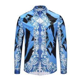 China 2019 New Luxury fashion men Casual shirts colour 3D Floral printed long sleeve mens dress shirts slim fit Silk cotton medusa shirts supplier mens patchwork plaid shirts suppliers