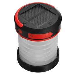 solar lights for camping tent NZ - 1W Mini Solar Lantern Camping Tent Light Folding LED USB Rechargeable Portable 90-140LM lantern 3 modes Lamp for Hiking Climbing