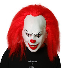 $enCountryForm.capitalKeyWord Australia - Funny Red Hair Stephen King's It Pennywise Mask Latex Halloween Scary Cosplay Clown Party Mask Prop Halloween Scary Clown Mask