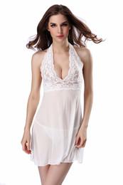 Summer Lace Women Nightdress Transparent Mesh Nightgown Sexy Deep V Neck  Nightwear Sleepwear Charming Female Wedding Babydolls c74e329a0