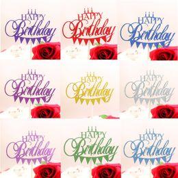 Cupcake Birthday Australia - Multi Colors Happy Birthday Party Cake Topper Mini Candles Glittler Cake Flags Birthday Party Baking Decor Cupcake Flags