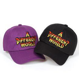 Discount black baseball caps - 2018 new Purple Multi Color A Different World Dad hat men women Cotton baseball cap Bone Snapback golf cap hats Bone Gar